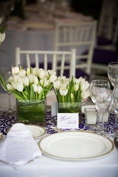 Simple tulip centerpiece with a bright patterned table runner