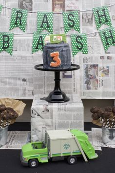 It's a trash bash!   Garbage truck party/ Trash can cake