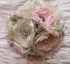 Custom Order Fabric flower Wedding Bouquet with  by RenesFabLab, $200.00