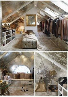 adorable attic walk-in closed with wallpapered ceiling and seating bench