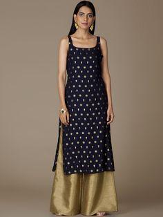 Buy Black And Golden Color Plazo Suit by Akanksha Singh at Fresh Look Fashion Simple Kurta Designs, Silk Kurti Designs, Fancy Blouse Designs, Kurta Designs Women, Kurti Designs Party Wear, Designs For Dresses, Party Wear Indian Dresses, Indian Gowns Dresses, Dress Indian Style