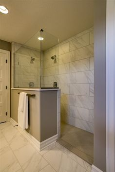 Half Wall Around Shower Provides Wall Space For A Towel Bar