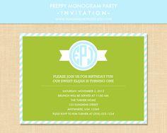 Preppy Monogram Party Invitation 5x7 Printable - Choose your color!