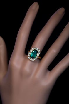 Antique Russian engagement ring, A yellow gold ring features a superb, richly saturated ct Colombian emerald of a very nice deep bluish- My Engagement Ring, Antique Engagement Rings, Diamond Cluster Ring, Emerald Diamond, Antique Jewelry, Vintage Jewelry, Diamond Tops, Yellow Gold Rings, Vintage Rings