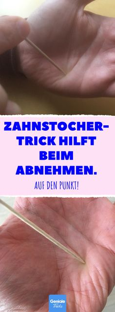 Zahnstocher-Trick hilft beim Abnehmen Toothpick trick helps you lose weight. To the point! Shiatsu: Acupuncture with toothpicks stimulates the pancreas and helps you lose weight. Losing Belly Fat Diet, Help Losing Weight, Yoga For Weight Loss, Lose Belly Fat, Weight Loss Tips, How To Lose Weight Fast, Chiropractic Therapy, Shiatsu, Cure