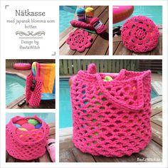 DIY - Virkad nätkasse med japansk blomma by BautaWitch - mönster på svenska  Crochet beach bag with Japanese flower bottom by BautaWitch