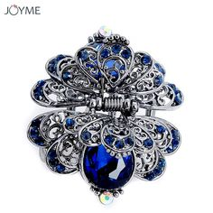 hair clips for women crystal: Discount !! Charm Ancient Silver Metal Crab Claw C... Claw Hair Clips, Hair Claw, Flower Hair Clips, Flowers In Hair, Rhinestone Headband, Vintage Rhinestone, Crystal Rhinestone, Prom Hair Accessories, Jewelry Accessories