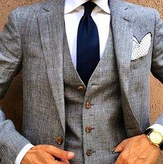 Wedding Ideas by Colour: Grey Wedding Suits - The bold tie | CHWV #WeddingIdeasBlue