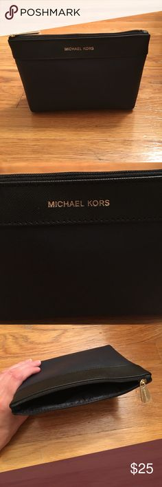 "Michael Kors Makeup Bag Brand new Michael Kors nylon cosmetic bag. Gift with purchase. Navy blue with black rim around the top. Gold embossed lettering. Approximately 7"" x 5"". Michael Kors Bags Cosmetic Bags & Cases"