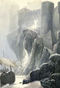 Carbonek - Castle of the Holy Grail by Alan Lee (1948 - present).