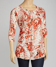 Another great find on #zulily! Orange Abstract Pleated Scoop Neck Top - Plus #zulilyfinds
