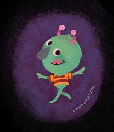 """Hallow Nosey"" #2016 #greg #abbott #art #artist #illustration #illustrator #friendly #childrens #character #design #happy #fun #nice #simple #halloween #monster"