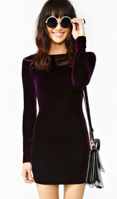 deep plum velvet dress. great for thanksgiving or christmas events with tights/boots
