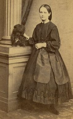 """""""Young girl with a dog, ca. 1864. Repository unknown. """""""