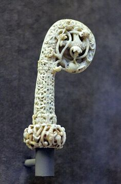 Head of a crozier. Walrus tusk, England, ca. 1120–1130. Anglo Saxon Musee National du Moyen  Age,France