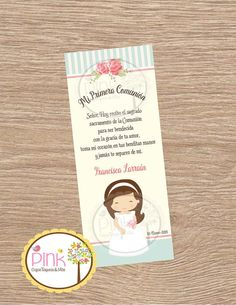 First Communion Favor Cards/ Bookmark / Baptism Girl / First Communion Favors, Baptism Favors, Baptism Invitations, First Holy Communion, Boy Baptism, Pink Paper, Cute Cards, Photo Book, Card Stock