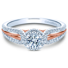 Preset 14k White/Rose Gold Round Halo Diamond Engagement Ring. $2,000