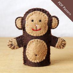 Felt monkey finger puppet pattern by KRFingerPuppets, $1.50