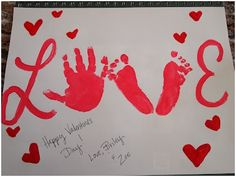 Valentines Day Printing Heartshaped Greeting - could make with son's hand and daughter's feet for daddy's valentine card