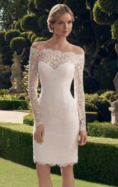 2014 New Short Wedding Dress White / Ivory Lace Bridal Gown Wedding Dress, strapless long-sleeved bridal gown prom dress party dress Wedding Robe, Wedding Attire, Wedding Gowns, Lace Wedding, Wedding Reception, Wedding White, Civil Wedding Dresses, White Wedding Dresses, Bridal Dresses