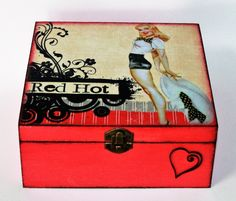 #homedecor #diy #handmade #madeinhome  #projects #gifts #storage   #decoupage #wood #old #retro #vintage #pin-up