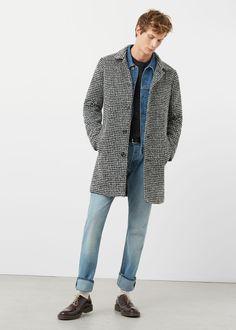 Tailored houndstooth overcoat | MANGO MAN