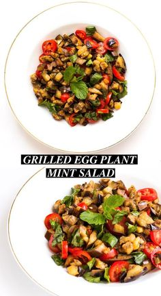 Grilled Eggplant Mint Salad - Posh Journal.This easy and quick grilled eggplant mint salad recipe is perfect for side dish or main course if you are a vegan (or not!).  It contains simple ingredient and this salad recipe can be ready within 15 minutes