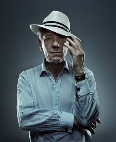 """Sir Ian McKellen shows off his version of """"The Perfect T I L T"""" Celebrity Photographers, Celebrity Portraits, Male Portraits, Clint Eastwood, Jason Statham, Sir Ian Mckellen, Pose, Contemporary Photographers, My Guy"""