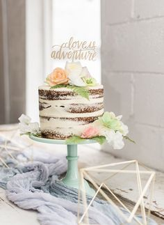 """I like that this is a single tier, semi-naked cake with vanilla frosting. Our cake topper is a similar size and color but just says """"hooray"""" Pretty Cakes, Beautiful Cakes, Amazing Cakes, Nake Cake, Bolos Naked Cake, Bolo Cake, Rustic Cake, Drip Cakes, Cake Art"""