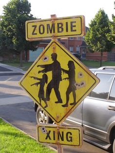 "HAHAHA This would be so cool for the front yard at Trev's party. I'd have to get another sign as well and label it ""Warning: Do Not Feed The Zombies!"" Man, I could have so much fun just on the signs for his party. LOL"