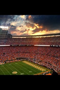 Go vols! Sunset at Neyland Stadium. University of Tennessee. VFL. GBO.