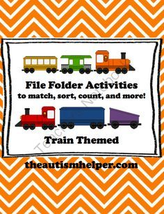 File Folder Activities to Match, Sort, Count, and More! TRAIN themed from The Autism Helper on TeachersNotebook.com -  (50 pages)  - This packet contains materials and resources to work on sorting, counting, matching, patterns, numbers, and letters for early learners through hands-on file fold activities. These would be great for preschool, kindergarten, or 1st grade.
