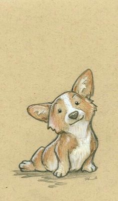 In Which I Gush About Frozen For A Few Minutes Corgi Zeichnung Illustration Corgi Drawing, Cute Dog Drawing, Cute Drawings, Drawings Of Dogs, Sketches Of Dogs, Puppy Drawings, Cute Corgi, Dog Illustration, Dog Art