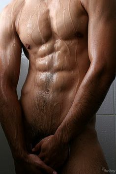 Naked male model with ripped abs, treasure trail and man bush. More men Hot Men, Sexy Men, Hot Guys, Men Abs, Slippery When Wet, Le Male, Hommes Sexy, Porno, Raining Men