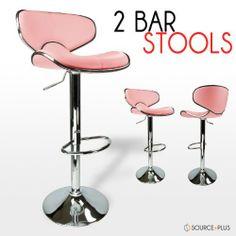 2 Swivel Pink Elegant Pu Leather Modern Adjule Hydraulic Bar Stool Barstool By Talentstar 82 00
