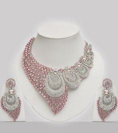 Pink & White Stones Studded Wedding Jewellery Set - Click Image to Close Indian Jewelry Sets, Indian Jewellery Online, Indian Wedding Jewelry, Wedding Jewelry Sets, India Jewelry, Black Gold Jewelry, Pink Jewelry, Do It Yourself Fashion, Schmuck Design