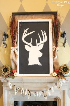 decorating for fall, seasonal holiday d cor, wreaths, Living in the Hill Country of Texas it s only appropriate to have a deer head in the living room I like this silhouette much better than a real mount Fall Home Decor, Autumn Home, Holiday Decor, Autumn Fall, Vintage Ironing Boards, Advent, Deer Head Silhouette, Autumn Crafts, Country Crafts