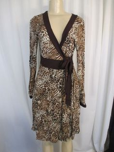 Argeh brown animal print long sleeve stretchy front tie unique wrap dress M #Argeh #Dress #Casual