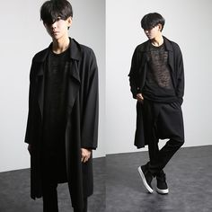 mens loose trench 2017 autumn and winter men cape outerwear loose casual open stitch male trench