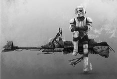 Imperial Speeder Bike by Shane Molina on ArtStation. Sith, Star Wars Galactic Heroes, Imperial Army, My War, Custom Action Figures, Star Wars Humor, Love Stars, Star Wars Art, Cool Bikes