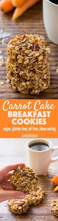These carrot cake breakfast cookies are a perfect healthy morning treat with whole grain oats, carrot, coconut and pecans. They are vegan, gluten free, oil free and clean eating. Sponsored Make ahead | Recipe | Meal Prep | Flax Egg