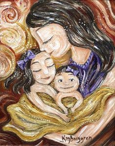 Beyond Everything - mother with 2 daughters print by Katie m. Berggren