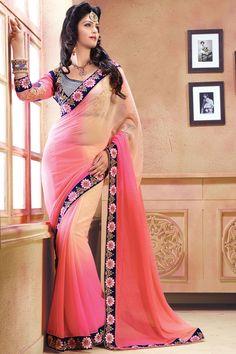 Pink Color Designer Wedding Bridal Lehenga Saree From Skysarees.