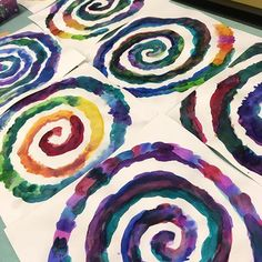 Started a new lesson with these Watercolor spirals... stay tuned #analagous #watercolor #spiralart #artofed #arteducation #artlesson #blendingcolors #swirllove #swirlies #newlesson #stepone