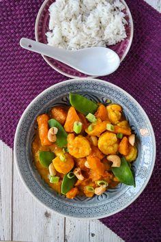 Kürbis-Garnelen-Curry mit Cashew-Topping