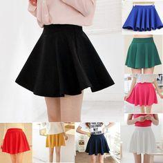 Women's Stretch high Waist Skirt Plain Skater Flared Pleated Mini Dress Short #Unbranded #Mini