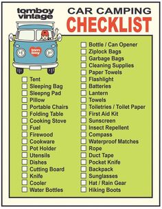 Camping Checklist Who's up for a road trip? Here's the essential Car Camping Checklist! tent campingWho's up for a road trip? Here's the essential Car Camping Checklist!