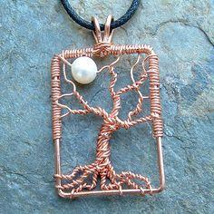 wire tree pendant copper