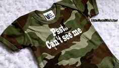 Camo funny boy baby onesie - Psst.. Cant see me - green black brown camouflage joke onsie. Army, military, hunting baby clothes 3 months