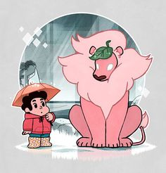 Here's Steven and Lion waiting together in the rain as a My Neighbor Totoro homage entry for the WeLoveFine: Steven Universe tshirt design contest. When it becomes available for rating, I would ver...